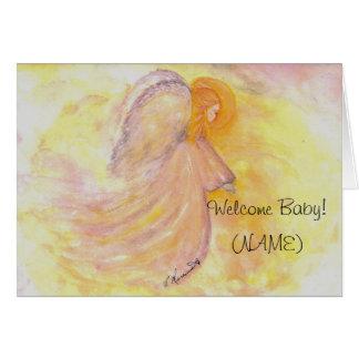 Cartão Pintura cor-de-rosa do anjo do bebé