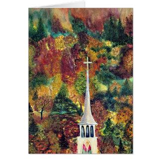 Cartão Pintura da aguarela da fé do outono