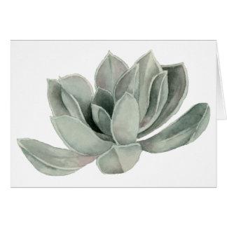Cartão Pintura da aguarela da planta do Succulent