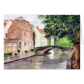 Cartão Pintura da aguarela de Bruges pelo Greenfield de