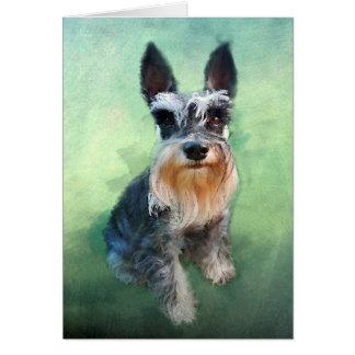 Cartão Pintura da arte da cor de água do cão do Schnauzer
