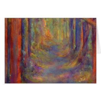 Cartão Pintura da arte das madeiras do outono do túnel da