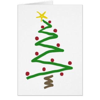 Cartão Pintura da árvore de Natal do ziguezague