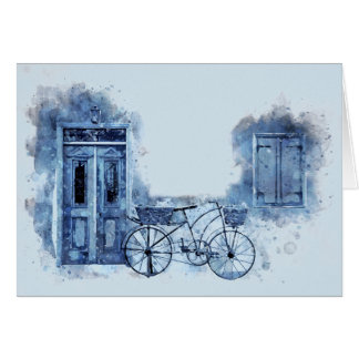 Cartão Pintura de cena azul da rua da bicicleta