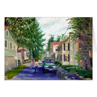 Cartão Pintura de paisagem do Streetscape de Elsah