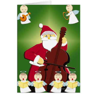 Cartão Pintura de Papai Noel que joga o violoncelo com