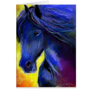 Cartão Pintura do cavalo de Freisian
