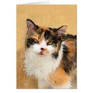 Cartão Pintura do gato de chita - arte original bonito do