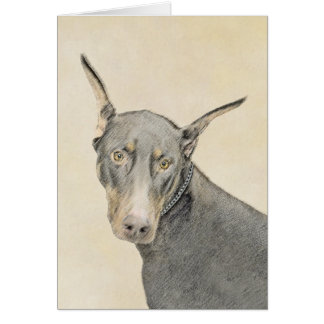 Cartão Pintura do Pinscher do Doberman - arte original do