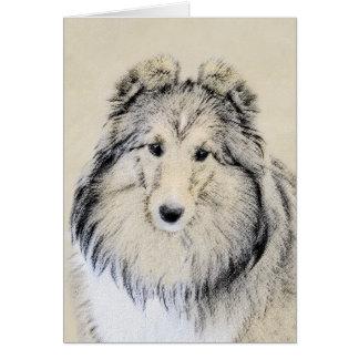 Cartão Pintura do Sheepdog de Shetland - arte original