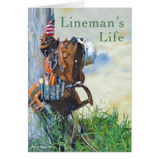 Cartão Pintura e poema originais da vida do lineman