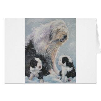 Cartão Pintura inglesa velha do SheepDog do inverno