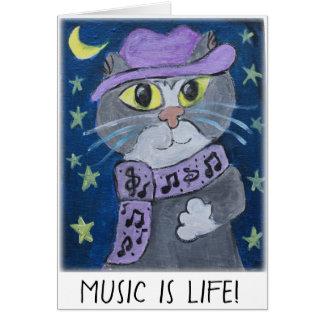 Cartão Pintura jazzístico do gato