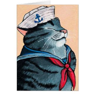 Cartão Pintura náutica do gato de gato malhado do gato do