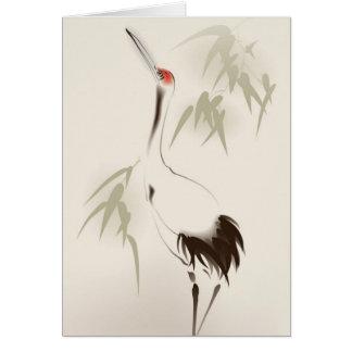 Cartão Pintura oriental do estilo, guindaste