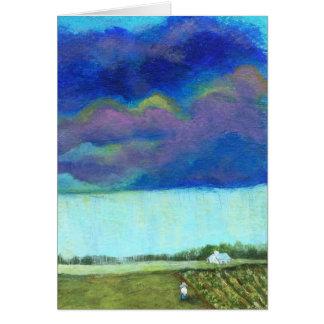 Cartão Pintura original do jardim da fazenda das nuvens