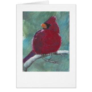Cartão Pintura vermelha cardinal do pássaro
