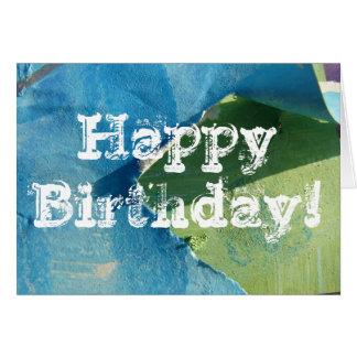 Cartão Pinturas abstratas do azul e do verde, feliz