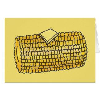 Cartão Piquenique amarelo da manteiga do Corncob da