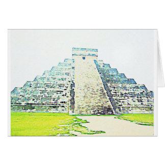 Cartão Pirâmide do design da aguarela de Chichen Itza