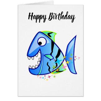 Cartão Piranha tropical azul com estrelas