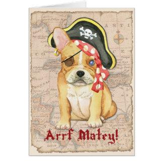 Cartão Pirata do buldogue francês