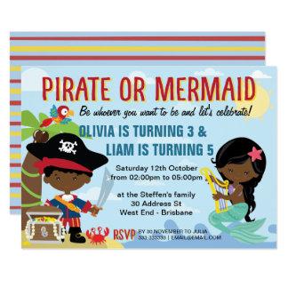 Cartão Pirata e sereia do afro-americano