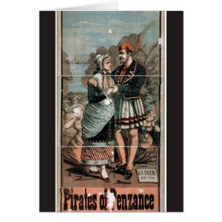 Cartão Piratas do teatro do vintage de Penzance