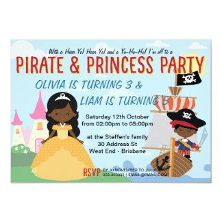 Cartão Piratas e princesa afro-americanos