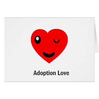 Cartão Piscar os olhos do amor da adopção