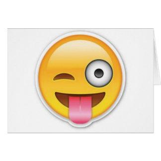 Cartão Piscar os olhos insolente do emoji do smiley