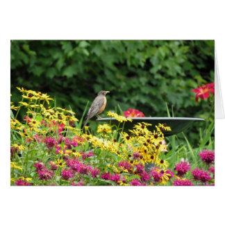 Cartão Pisco de peito vermelho e flores