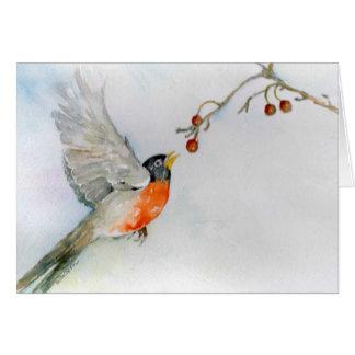 Cartão Pisco de peito vermelho em vôo