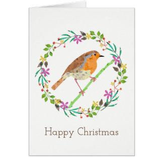 Cartão Pisco de peito vermelho o pássaro do Natal