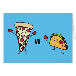 Cartão Pizza de Pepperoni CONTRA o Taco: Mexicano contra
