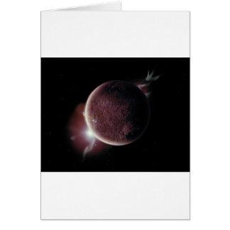 Cartão planeta vermelho no universo com aura e estrelas