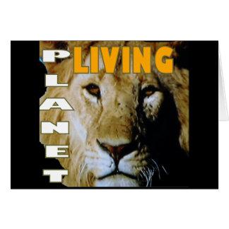 Cartão Planeta vivo do leão eco-amigável