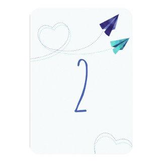 Cartão plano de papel do numer da mesa da aguarela