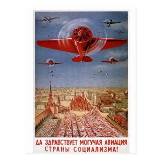 cartão plano soviético cartão postal