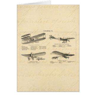 Cartão Planos velhos retros da antiguidade do biplano do