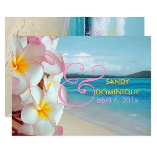 Cartão Plumeria cor-de-rosa de PixDezines/praia/casamento