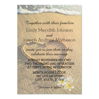 Cartão Plumeria do casamento de praia/areia e mar do