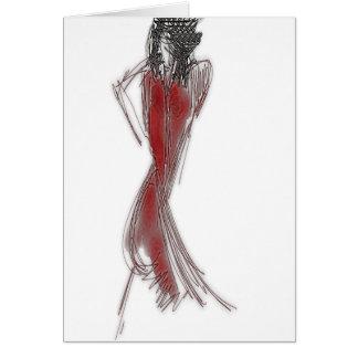 Cartão Pnha seu vestido vermelho sobre
