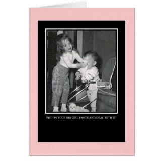 Cartão Pnha sobre suas calças grandes da menina