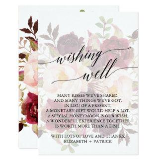 Cartão Poço de desejo floral desvanecido | elegante da