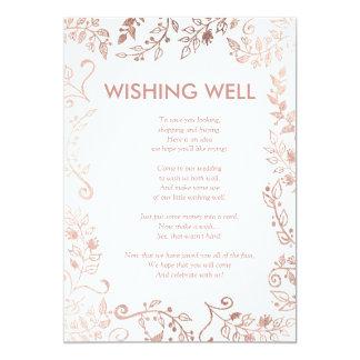 Cartão Poço de desejo floral do ouro elegante do rosa