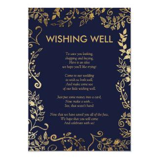 Cartão Poço de desejo floral do ouro elegante dos azuis