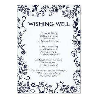Cartão Poço de desejo floral elegante do azul marinho e o
