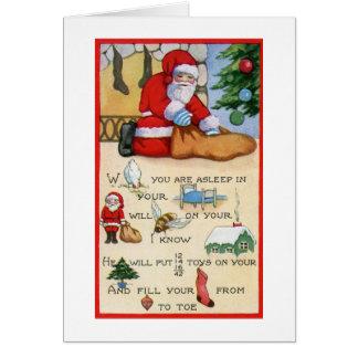 Cartão Poema do vintage de Papai Noel, Natal, art deco