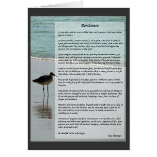 Cartão Poema dos Desiderata - gaivota na cena da praia